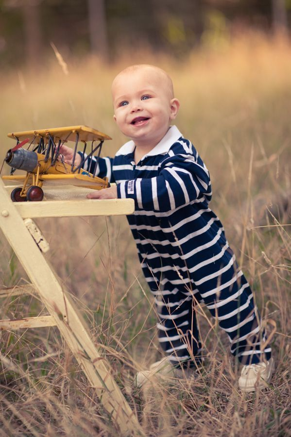 Navy and white stripe playsuit by Phoebe and Floyd. Baby boys winter collection.