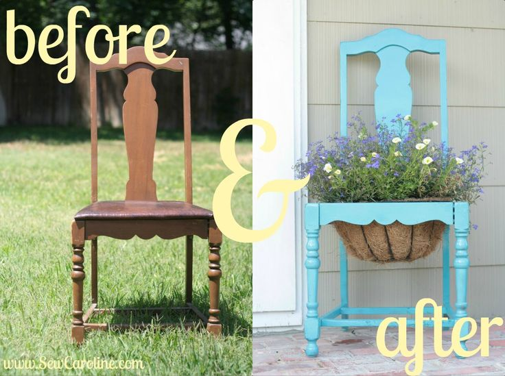 Its super simple...  take an old chair.  pop out the seat.  spray paint your desired color.  place a hanging basket in the seat of the chair.  & don't forget to water daily!