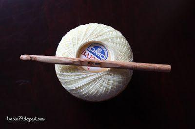 Szydełko firmy Phildar, kordonek DMC 20; kolor 746 Crochet Phildar, Chenille DMC color 746