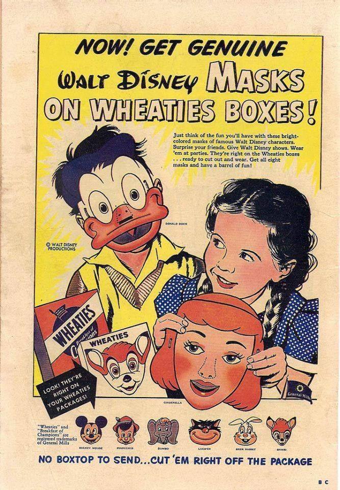 Vintage Walt Disney Masks On Wheaties Box