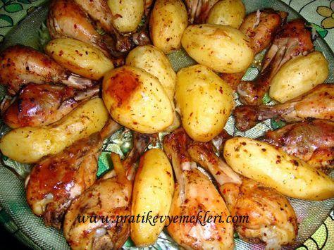 firinda tavuklu baharatli patates