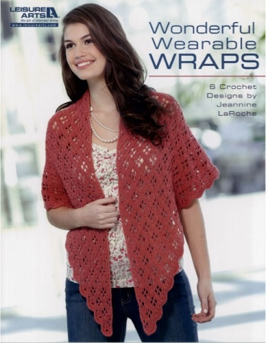 Add new flair and a touch of warmth to all your favorite outfits! These six lacy wraps are the perfect fit for your wardrobe. So fun to crochet, each poncho, stole, and shawl is also lovely to wear with everything from blue jeans to dresses. Whether you're on your way to work, enjoying an evening out, or just going for a stroll, remember to wrap yourself in one of these feminine accessories! Six easy crochet designs: Crochet Projects, Blue Jeans, Leisure Art, Book, Wonder Wearable, Crochet Patterns, Crochet Shawl, Wearable Wraps, Art Wonder