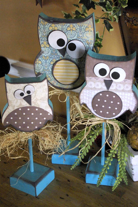 This set is sold .. Owl's Trio set of Hooters Primitive by CCsCountryCreations, $30.00. Custom made to order... color choice is yours, I will match your home decor !