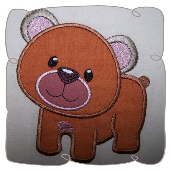 Applique Bear Critter Machine Embroidery Design