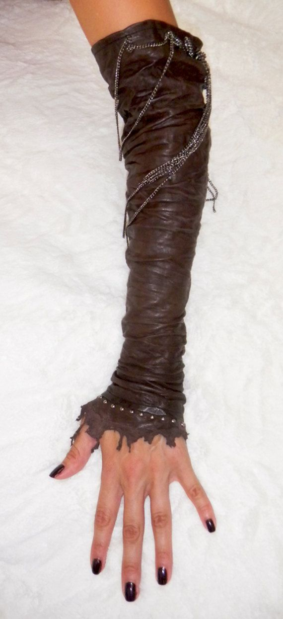 Leather sleeves or fingerless gloves also known as by WittyKittys