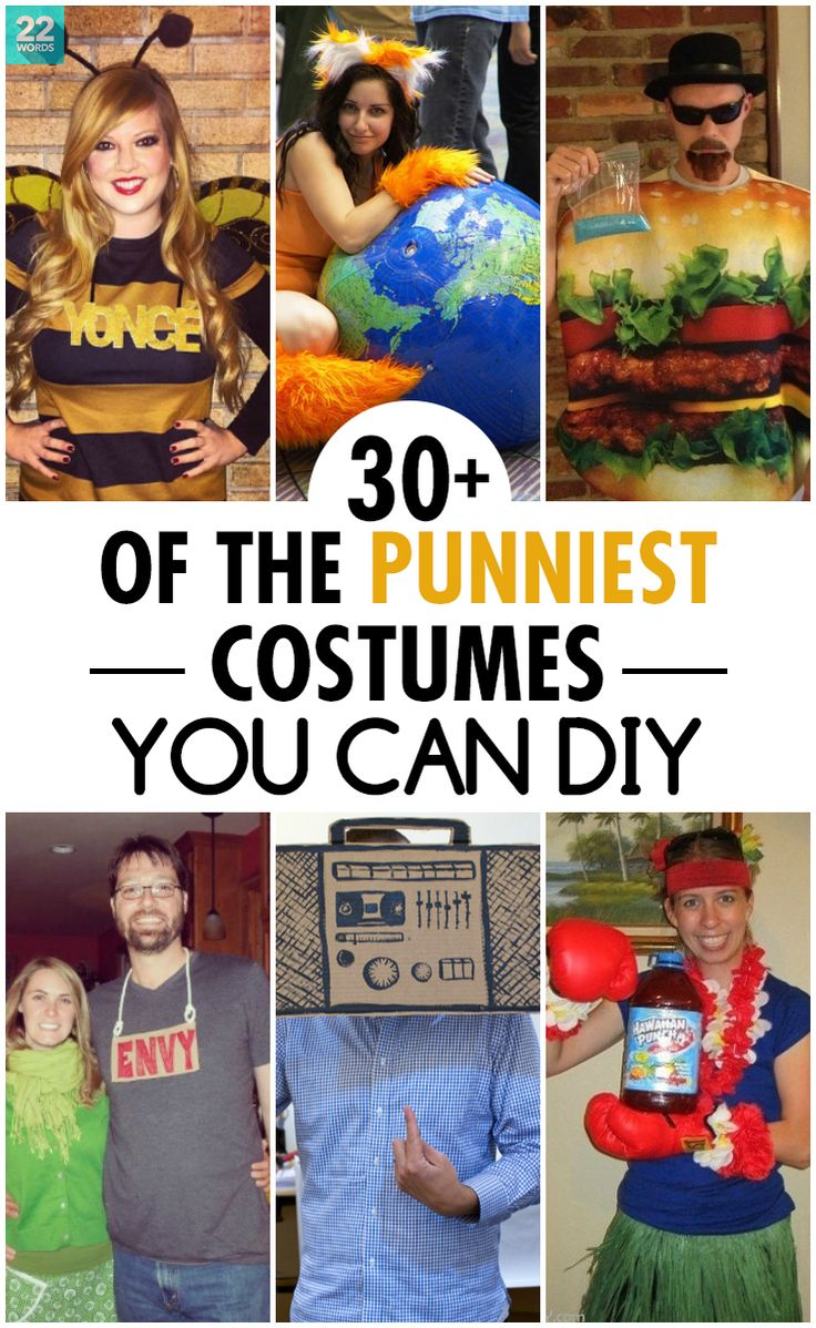 These funny and inexpensive Halloween costume DIY ideas are as easy as they are hilarious — great costume ideas for couples, women, men, large groups and kids, that are fast and simple enough to make for last minute Halloween parties or trick or treating.