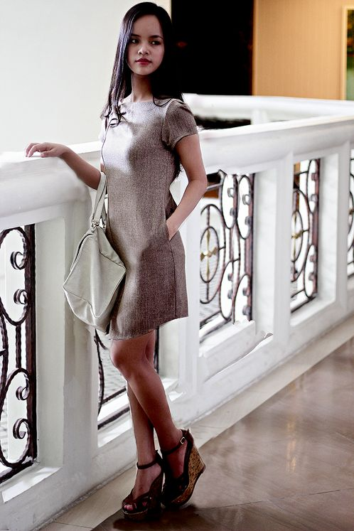 https://www.cityblis.com/item/11732   Working Dress - $350 by Meera Meera Fashion Concept   Working Dress Code: 4153A Material: Kaki Cotton Color: Milk Chocolate  Size: M