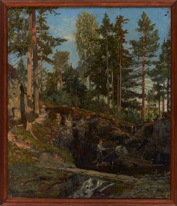 NILS HANSTEEN MO I RANA 1855 - CHRISTIANIA 1912  From Storøya in Tyrifjord.  Oil on canvas, 54x46 cm  Signed and dated lower left: Nils Hansteen 1884