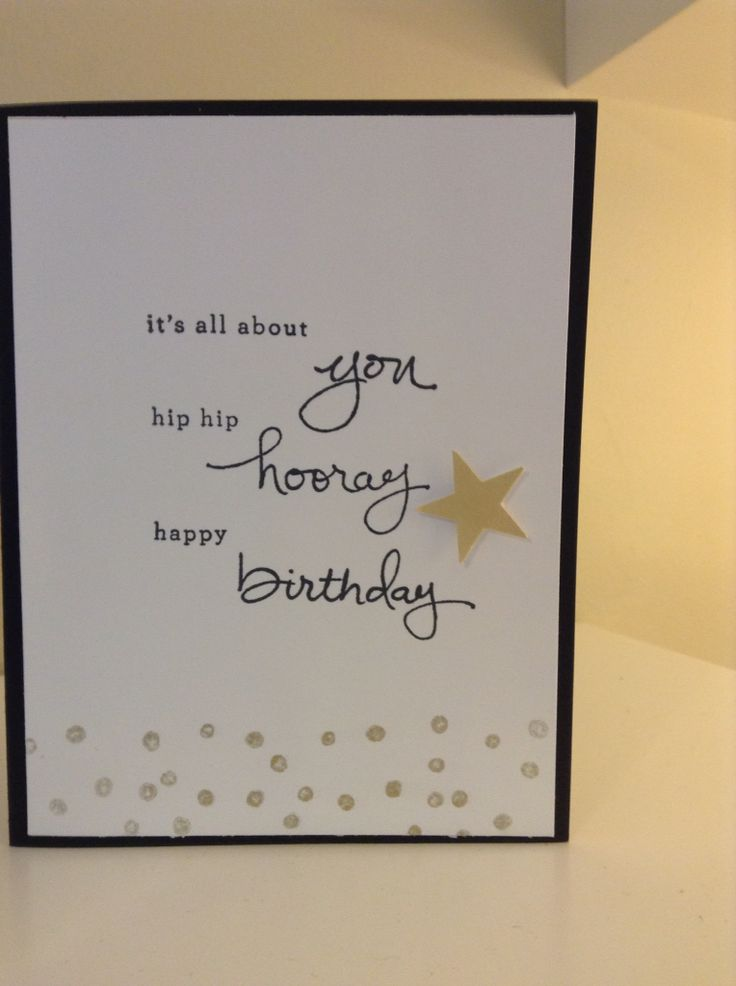Stampin' Up Endless Birthday wishes set. Gold ink and paper. Birthday card. Inside reads Enjoy your Day.