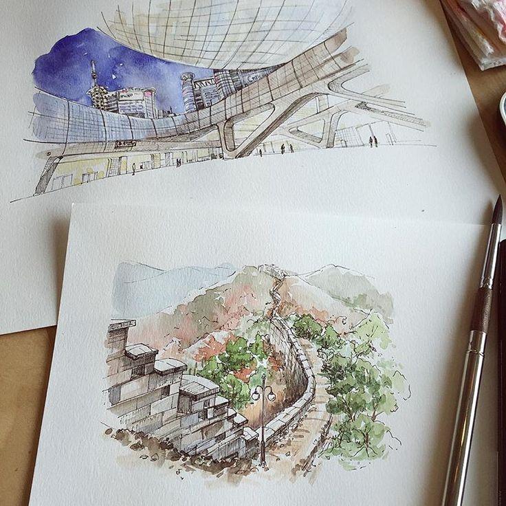 ✍🏼 _ #drawing #penillust #watercolour #illustration #pendrawing #watercolor #ddp #수채화 #손그림 #일러스트 #수채화일러스트 #동대문 #한양도성 #성곽