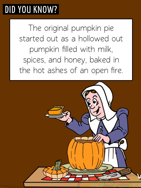 Fun Food Fact! Did you know the original pumpkin pie was a hollowed out pumpkin filled with ingredients and baked in an open fire?