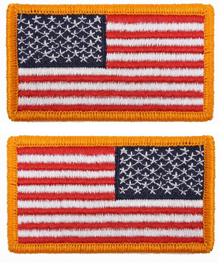 Iron On & Sew On American Flag Patch PAIR USA Flag & Reverse Attachable Patches