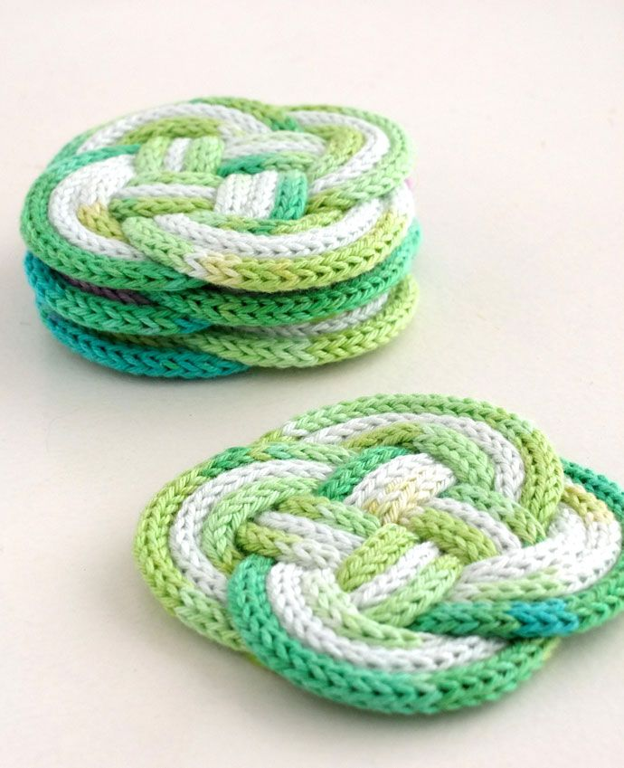 French Knitting Tutorial : French knitted knotted coasters knits knitting and diy