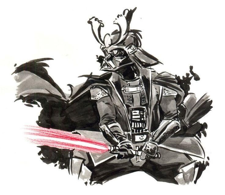 #darth #vader #samurai #drawing #illustration #darkside #star #wars