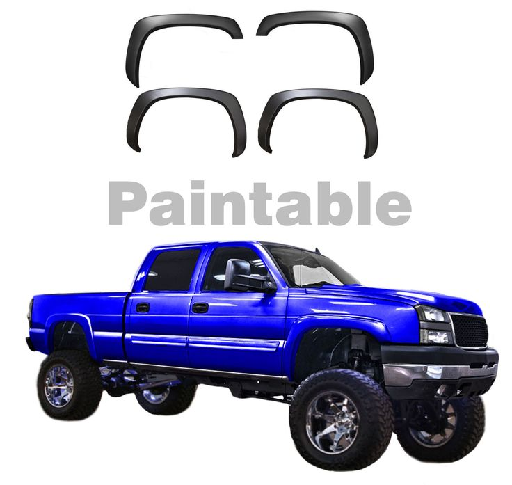 Brand New High Quality Fender Flares Set of 4 Fender Flares Fits: 1999 – 2006 Chevrolet Silverado (NOT STEPSIDE MODEL) 2000 – 2006 Chevrolet Suburban 1999 – 2006 GMC Sierra (NOT DUALLY or SLE MODELS)