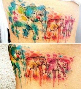 Watercolor Elephant Tattoo Idea