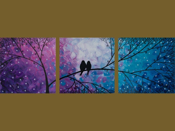 Gorgeous painting.: Love Paintings, Wall Decor, 3 Canvas Paintings, Paintings Ideas, Multi Canvas Paintings, Girls Art Bedrooms Ideas, Trees Branches, Love Birds Paintings, 3 Canvas Bedrooms Decor