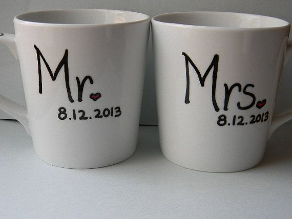 mr and mrs husband wife wedding date by tenthavenuemugworks, $21.50