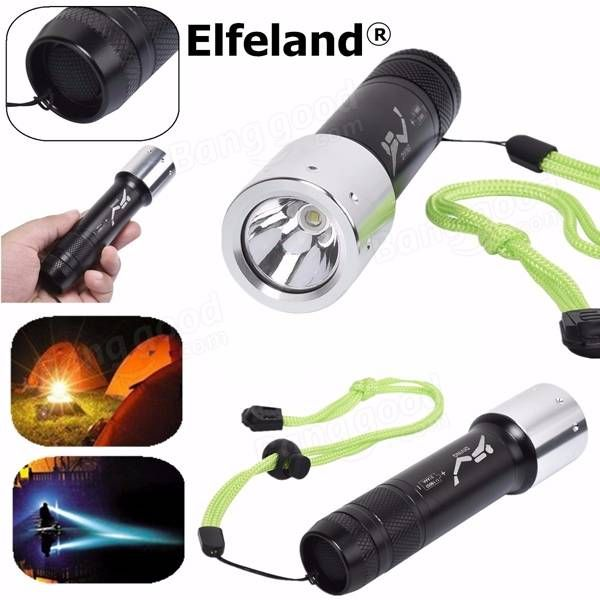 Elfeland XM-L T6 2800LM 3modes Waterproof Diving LED Flashlight 18650/AAA