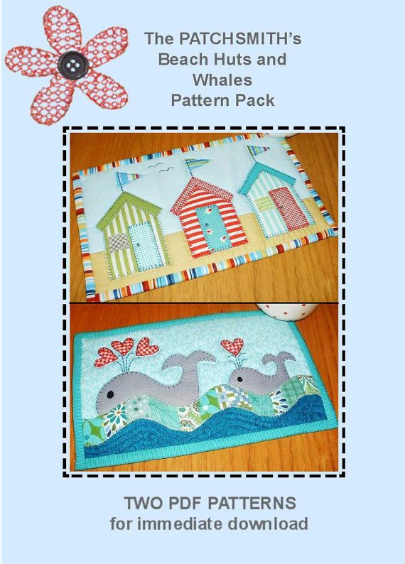 Beach Huts and Whales Pattern Pack  Two Mug Rug by Patchsmith, $3.99