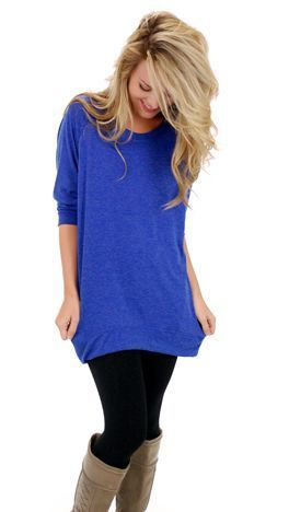 Stitch Fix: I love this bright shade of blue. I love the length - looks longer than most tunics, but not quite a dress - would be so great to wear with leggings (and have a completely covered booty)! And it looks really comfy.