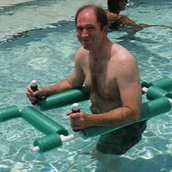 Water Walking Assistant, made of PVC pipe and pool noodle. This is an easy piece of equipment to make, and very useful for people who want to take a dip in the pool.