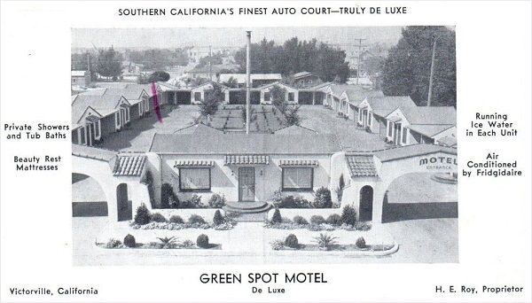 Old 1940s postcard showing the Green Spot Motel on Route 66 in Victorville, California