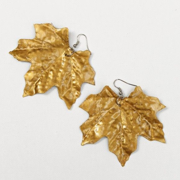 gold leaf earrings made from dollar store faux leaves & paint!