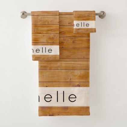 Your Name - Barn Wall Old Wooden Barks - Brown Bath Towel Set - barn gifts style ideas unique custom