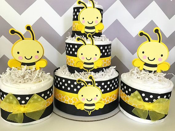 SET OF 3 Bumble Bee Diaper Cakes Baby Shower Centerpieces Party Decorations