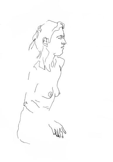 Zonder titel 6 - tekening in viltstift op papier - 40 x 50 cm - Cobi de Jong