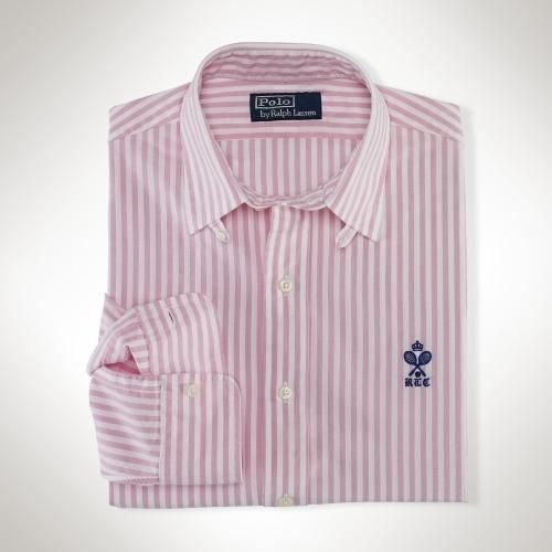 This trim-fitting dress shirt is crafted from pinpoint cotton oxford and finished with a preppy crown-and-tennis-racket logo at the chest. Tabbed point collar. Applied buttoned placket.... More Details