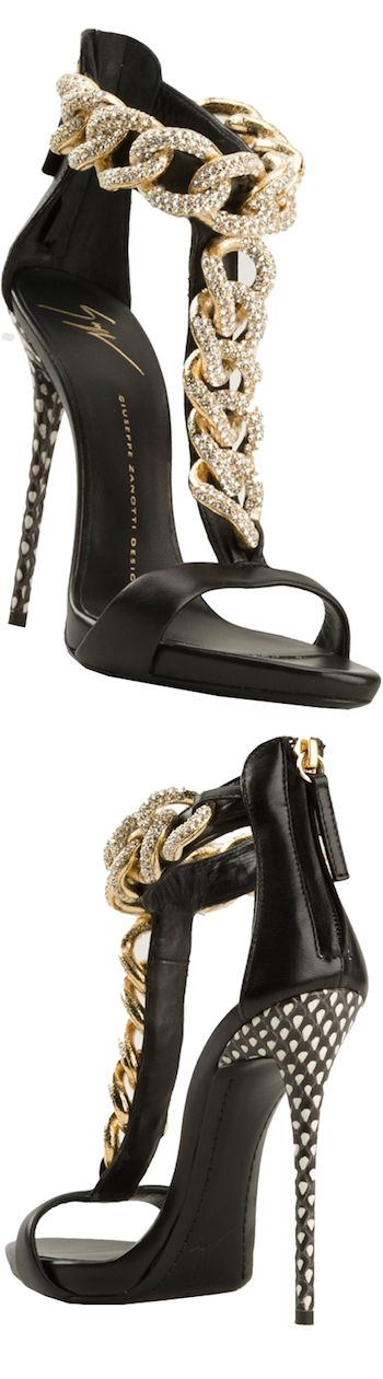 GIUSEPPE ZANOTTI DESIGN curb chain sandals, t-bar strap LOOKandLOVEwithLOLO: Step it up with A Statement-Making Sandal or Pump!
