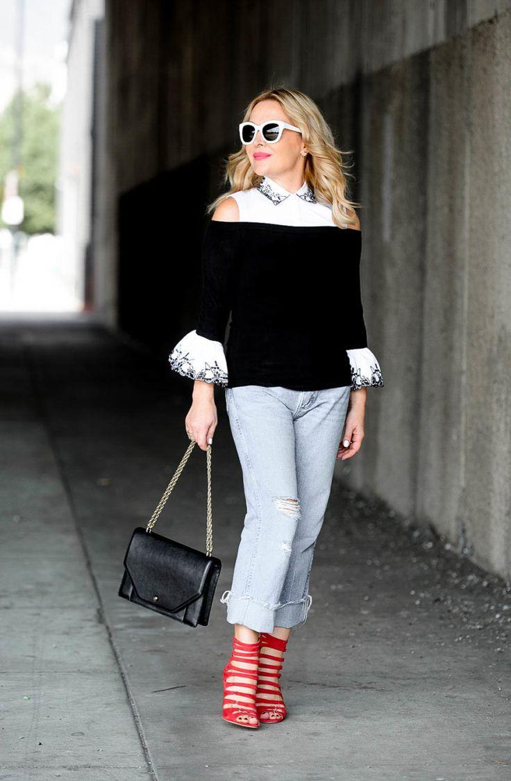 White Shirt, Cuffed Denim, Red Heels.