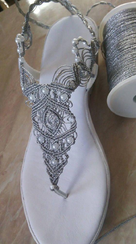 Zapatos de Boda de Mujer Macrame y Sandalias de Cuero