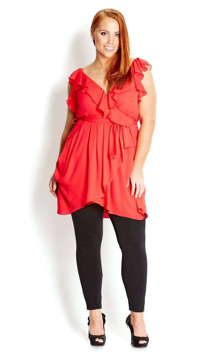 City Chic - RUFFLE WRAP TUNIC - Women's plus size fashion