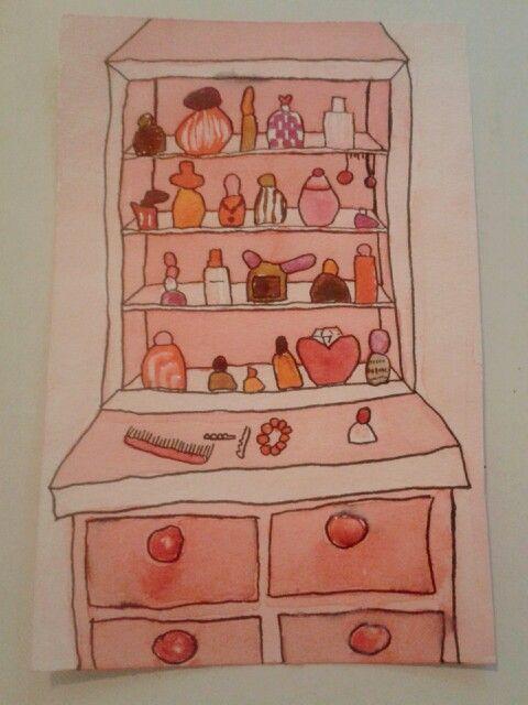 """""""Tyttöjen huone"""" Akvarellimaalauksen testaus."""
