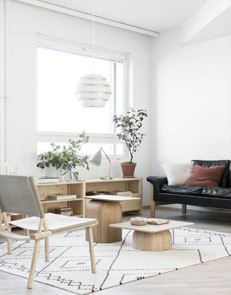 intrieur scandinave dans le salon amnag avec un canap en cuir noir tables basses et - Salon En Bois Massif Cuire