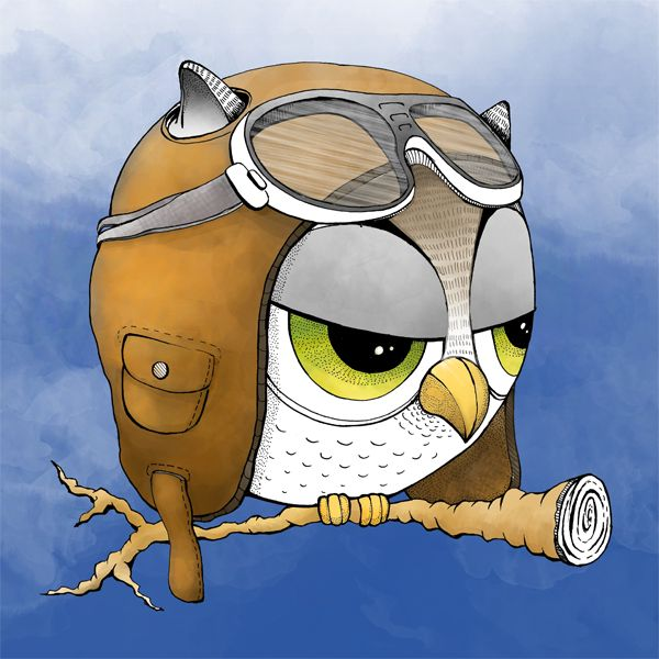 Pilotulka. #pilot #pilot_cap #owl #sowa #sowulka #illustration #drawing #ilustracja #cute