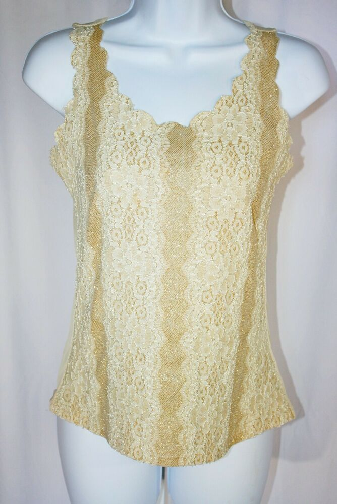1c2fdbef8175c Valentine Lace Tank Top Blouse Shimmery Glitter Gold Cream Sheer Back  Sleeveless  Valentine  TankTop
