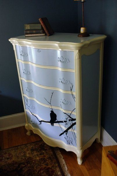 French Provincial painted dresser with Crow by SaintRooster, $995.00