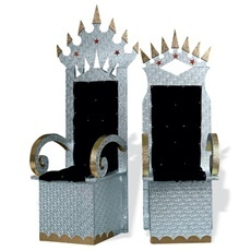 Royalty Thrones DIY Kit - Glamour takes center stage and is certain to bring out the King and Queen within. Kit includes one 6 ft. 7 in. high x 2 ft. in diameter King's throne and one 5 ft. 10 in. high x 2 ft. in diameter Queen's throne. Awesome for the Reception Sweetheart Table.