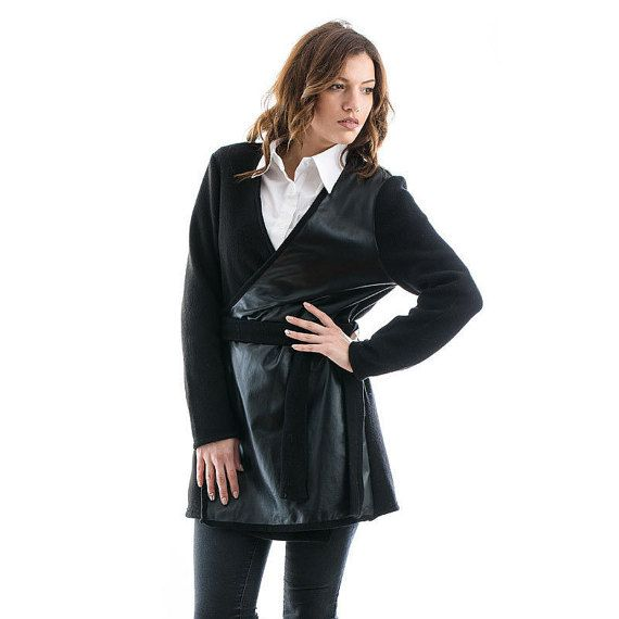 Black Knitted Cardigan with Leather details black by madecoutureeu