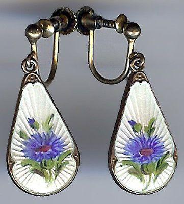 Ivar Holt Norway Vintage Gold Wash Sterling Blue Enamel Flower Dangle Earrings | eBay
