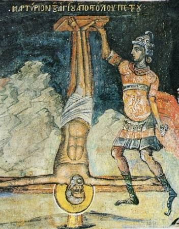 St Peter crucified