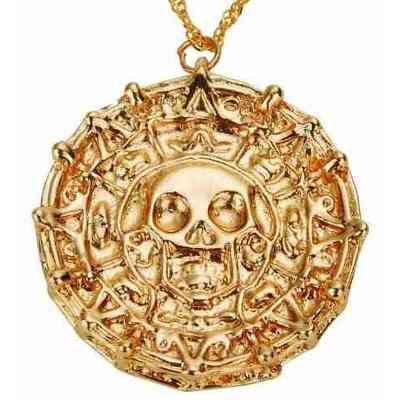 Colar Piratas Do Caribe Medalhão Ouro Asteca Folheado a Ouro 18k