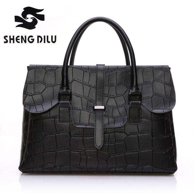 49.80$  Buy here - http://aliakp.shopchina.info/go.php?t=32792956959 - 2017 Elegant Genuine Leather Bags for Women Business Crocodile Messenger Bag Cowhide name brand Handbags Woman Handbag Big 3043  #buymethat