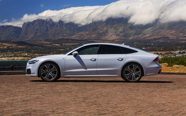 Download wallpapers Audi A7 Sportback, 2018, sports sedan, exterior, 4k, side view, new white A7 Sportback, mountain landscape, German cars, Audi