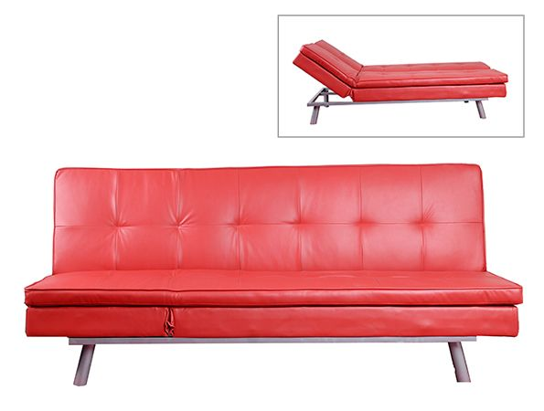 DJ Smallz #contemporary #Klik-Klak in faux leather features generous padding for added comfort, tufted design on back and seating, and metal legs. Easily clicks into 3 positions for maximum versatility: sofa (upright as shown), chaise (inset picture), and flat for sleeping.