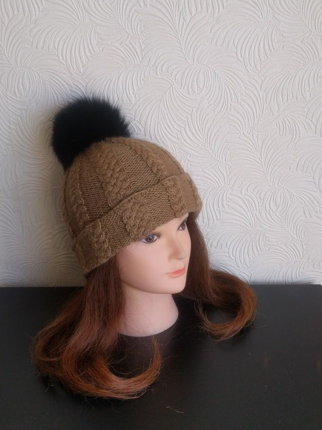 Womens winter hat - Beanie - Knit hat – Camel hat - Bobble hat - Pom pom hat £64.35